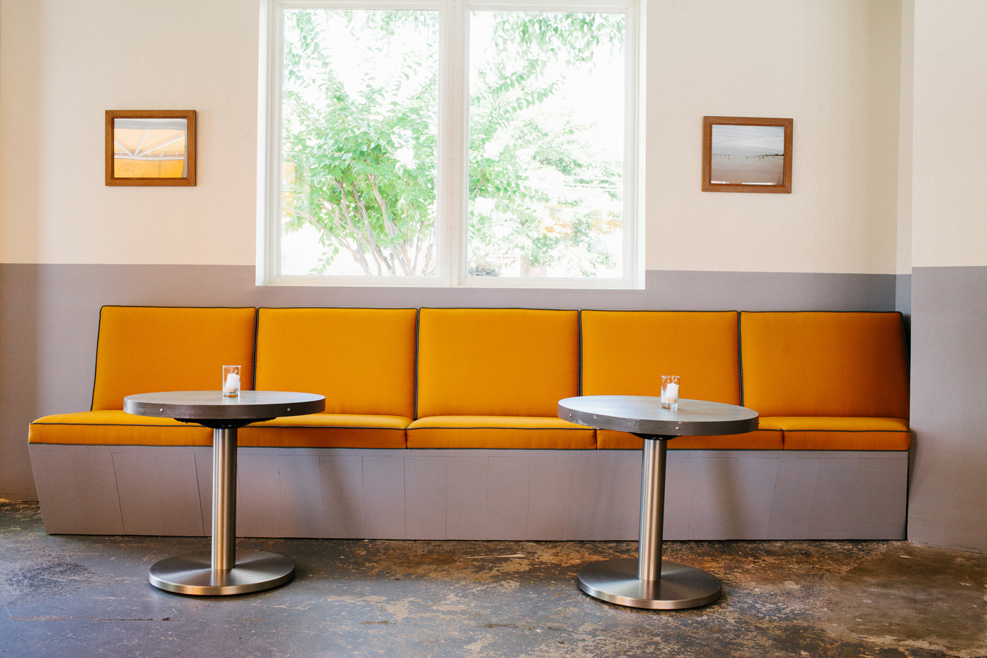 The Oyster bar at The Optimist | Smith Hanes. interior bench seating