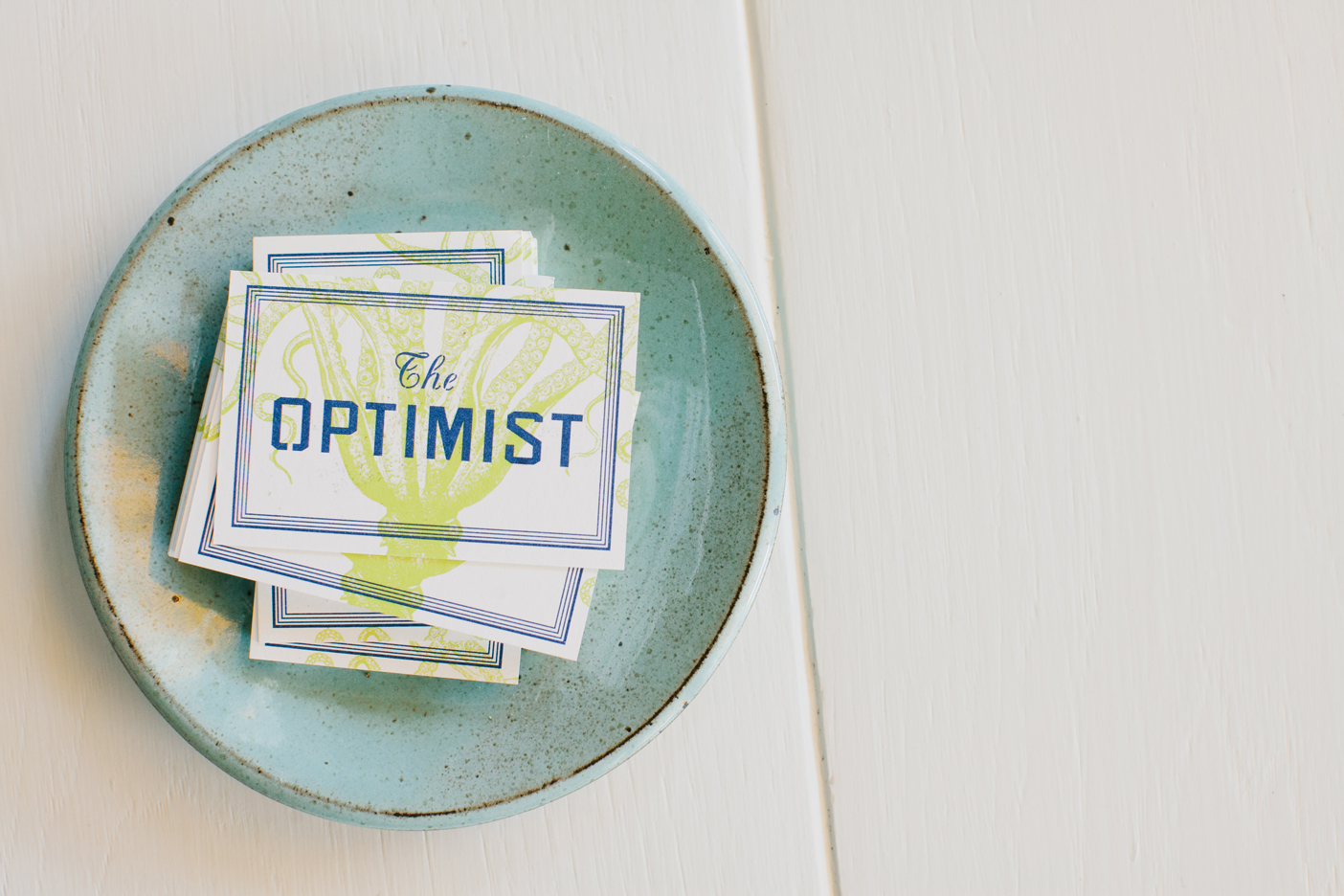 The Oyster bar at The Optimist | Smith Hanes. business card detail