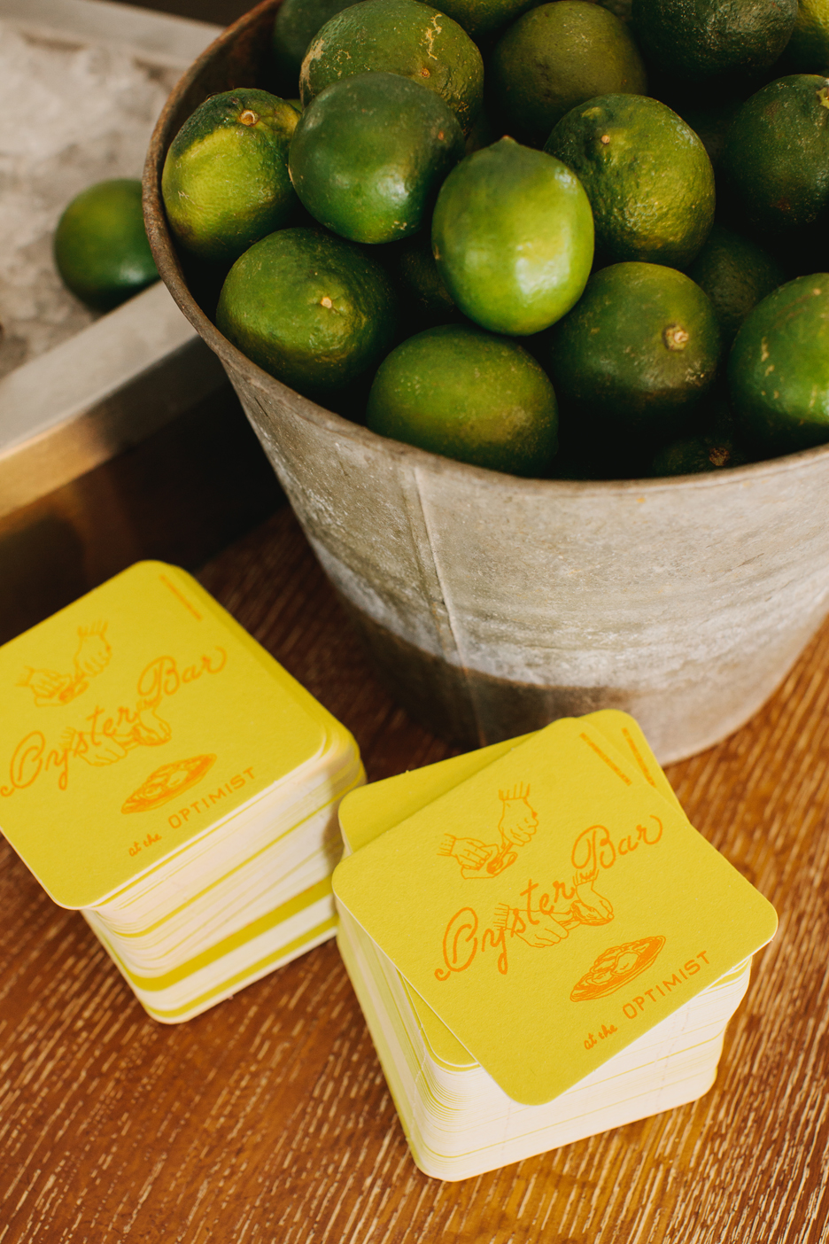 The Oyster bar at The Optimist | Smith Hanes. detail, coasters and limes