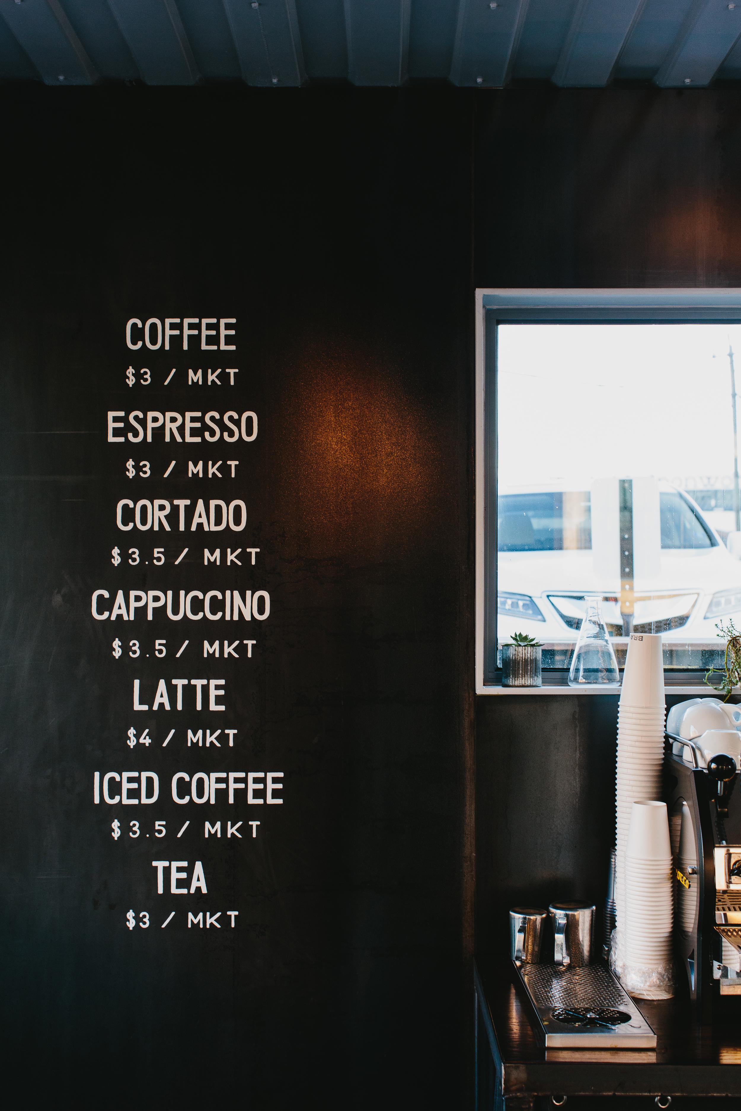 Brash Coffee   Smith Hanes. cafe menu