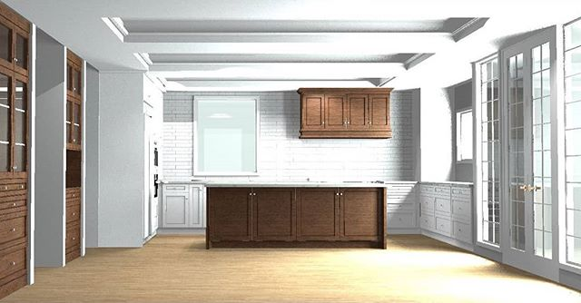 On the virtual drafting table today: Classic elegance.  Friday deserves a coffered ceiling, don't you think? . . . . Rendering by: Cheyann MacInnes . #northvancouver #kitchensdesignedforlife #kitchendesign #cofferedceiling #walnut #kitchendesigner #westvancouver #custommillwork #millwork #subwaytile