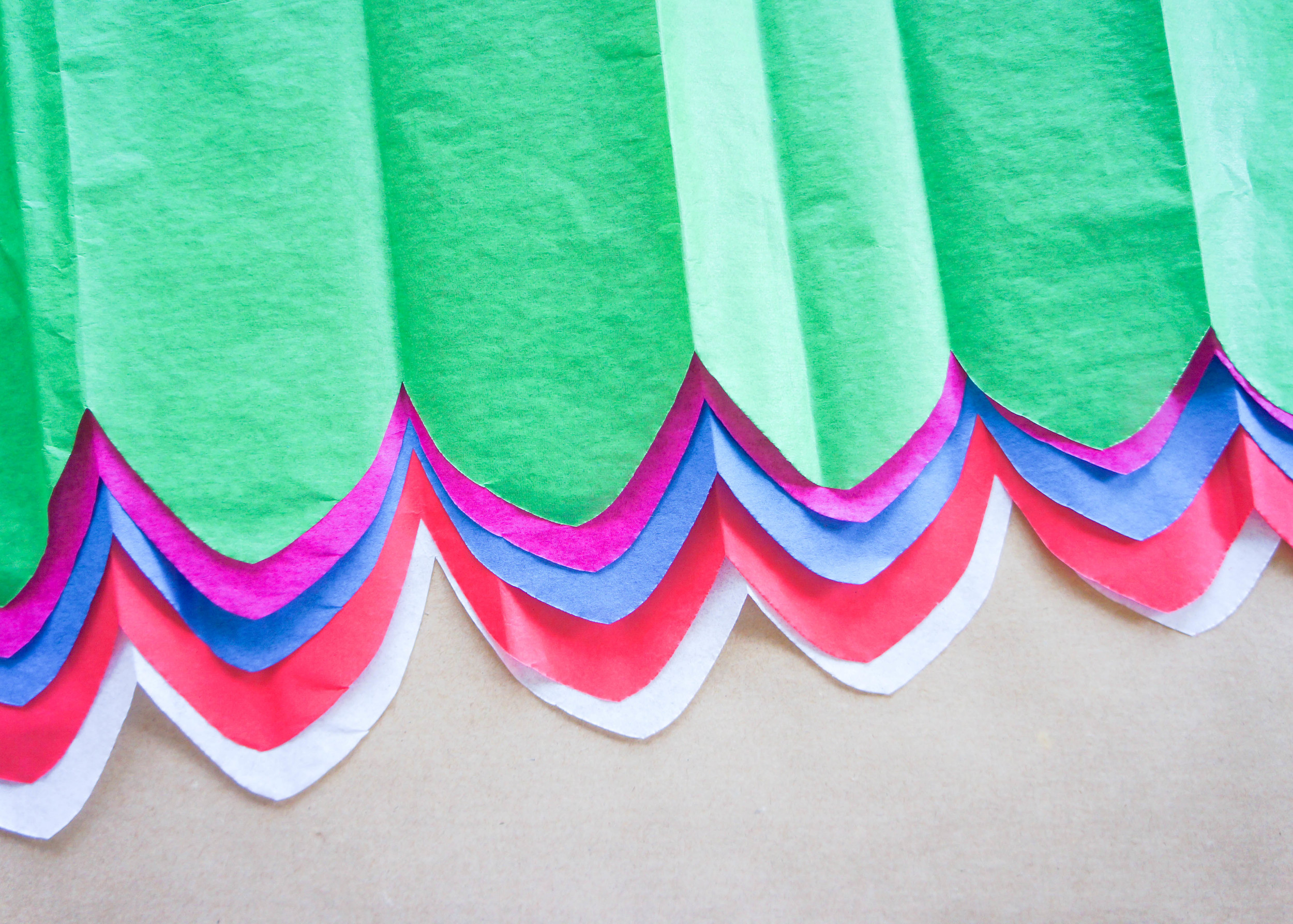 You should end up with a cute scalloped edge, like this. This will be the bottom of your Papel Picado Banner.