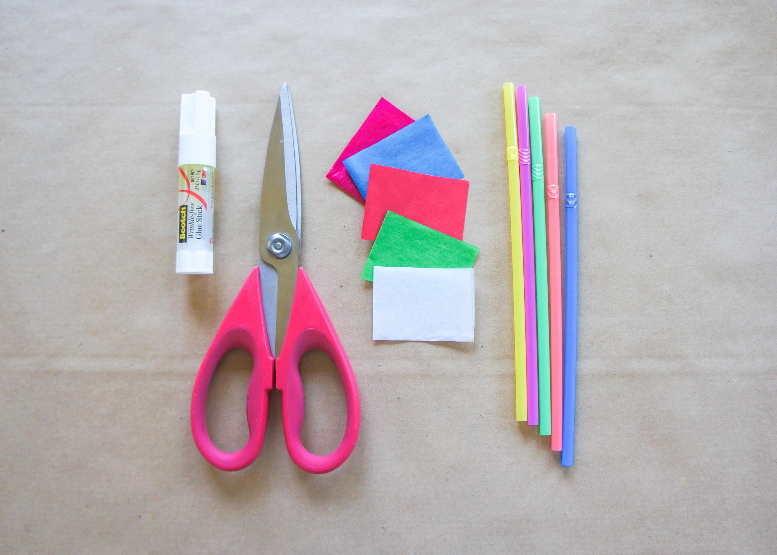 """-Tissue Paper (1.5"""" x 4"""" strips)  -Straws  -Scissors  -Glue Stick"""
