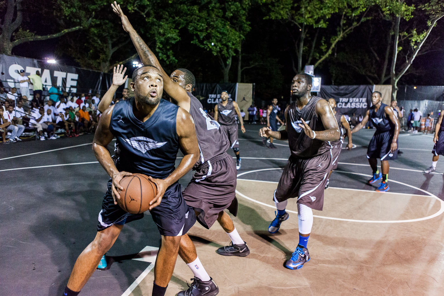 """Kavon """"Happy Feet"""" Jones-Lytch works the baseline like it's a tight rope and is one of the best finishers around the rim in NYC."""