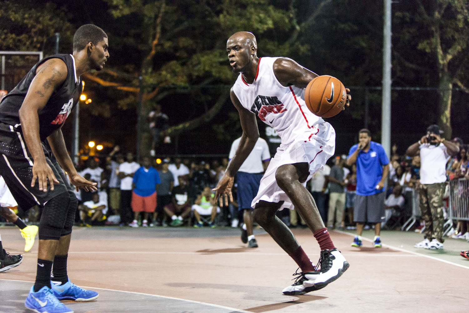 Delroy James, former Rhode Island Ram, had a sensational start to the game with strong drives to the basket that made even the city's best players look helpless at times.