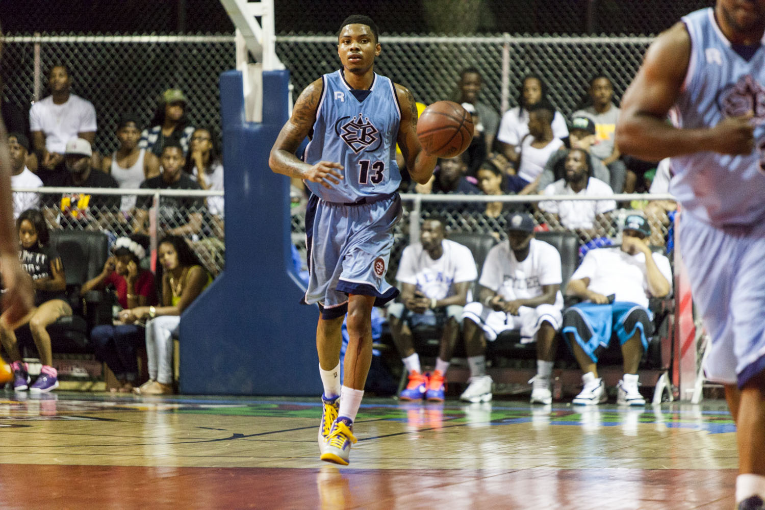Kent Bazemore of the Golden State Warriors showed true grit and passion for the game when he played through a bloody shin at the EBC in Harlem.