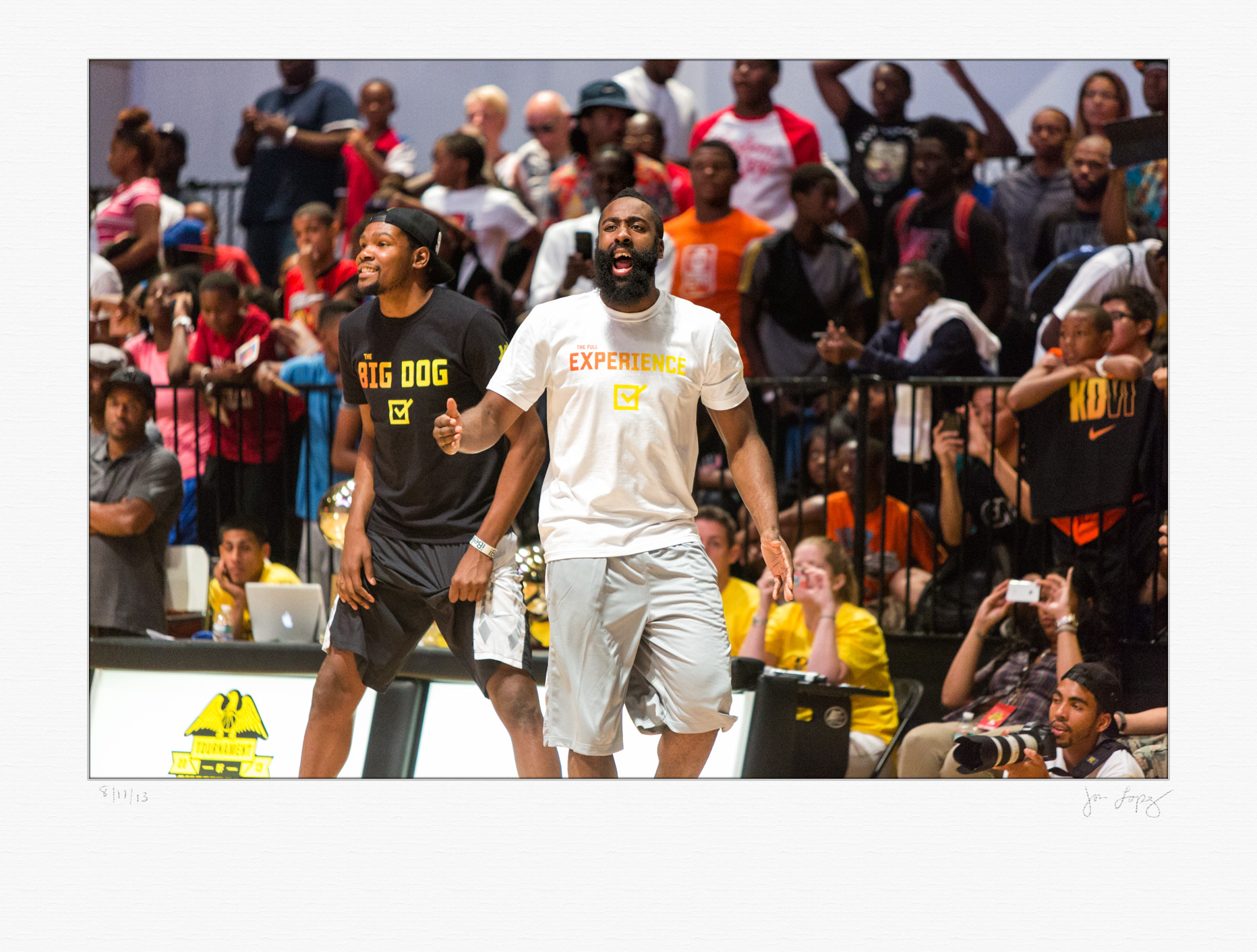 Former teammates with the Oklahoma City Thunder, Kevin Durant (left) and James Harden (right) went head-to-head as coaches in the  Summer is Serious  pick-up game.