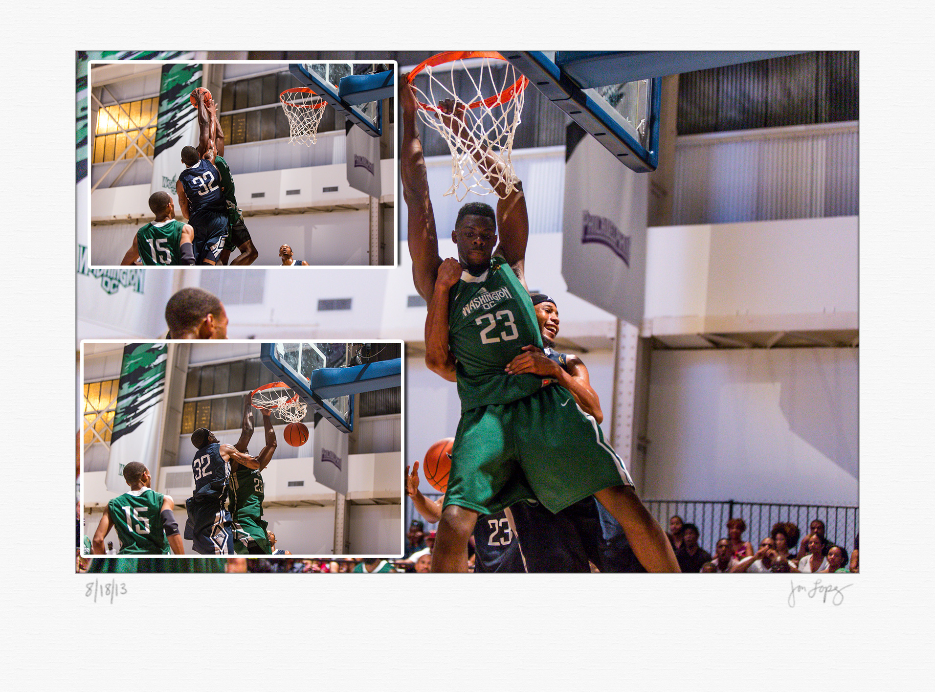 This dunk was so ferocious that the victim had to give the dunker a hug on the way down.
