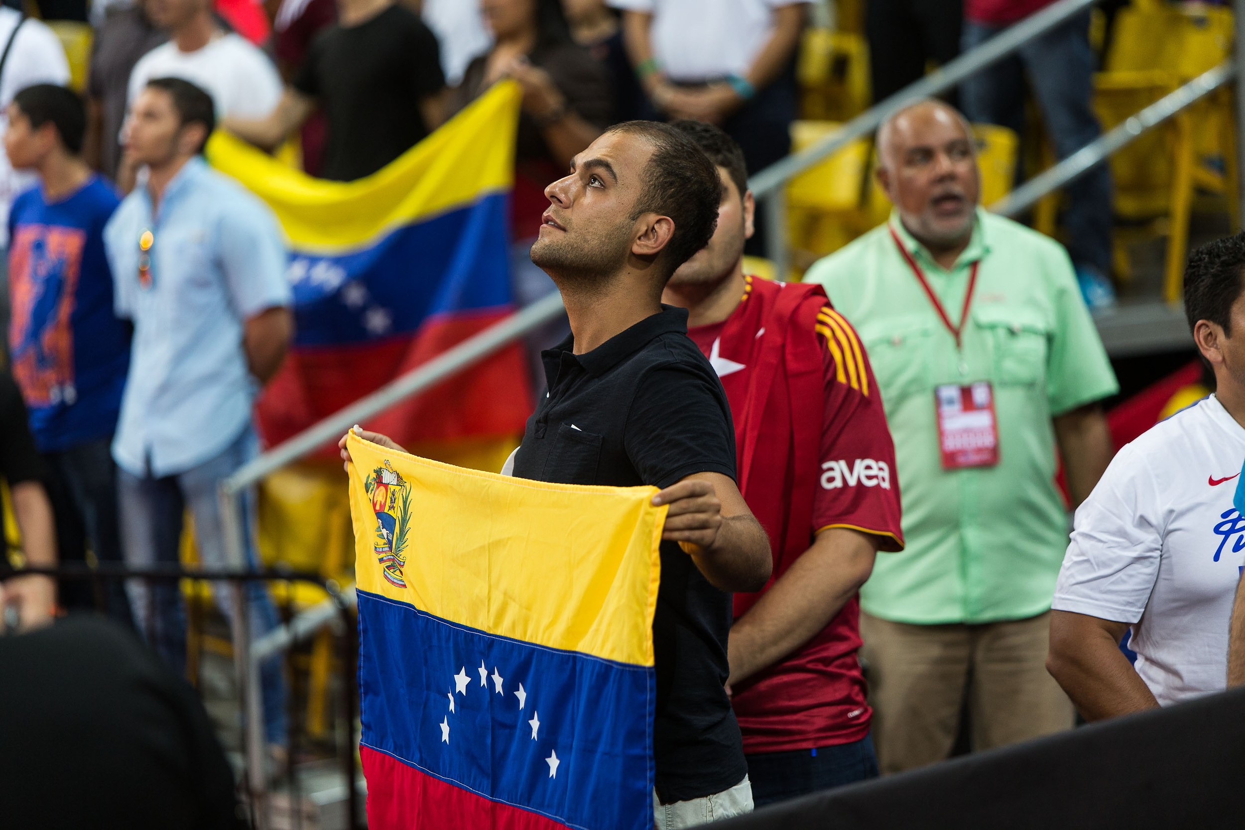 Venezuela fans sang their national anthem before the game started on Saturday night.