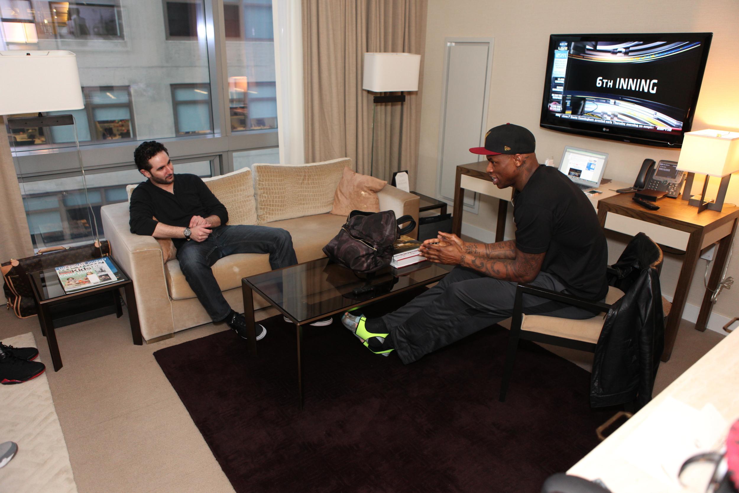 NBA Analyst for  Bleacher Report , Jared Zwerling (left) interviews New York native and NBA veteran Al Harrington.