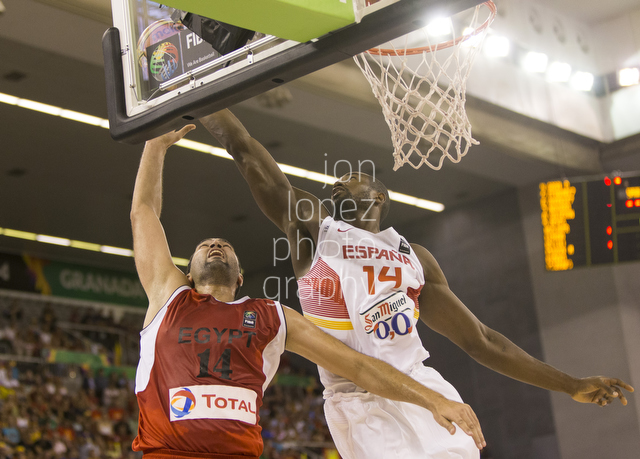 Serge Ibaka is heavy on the clean up as he wipes this shot on the glass in Granada, Spain for the Basketball World Cup.