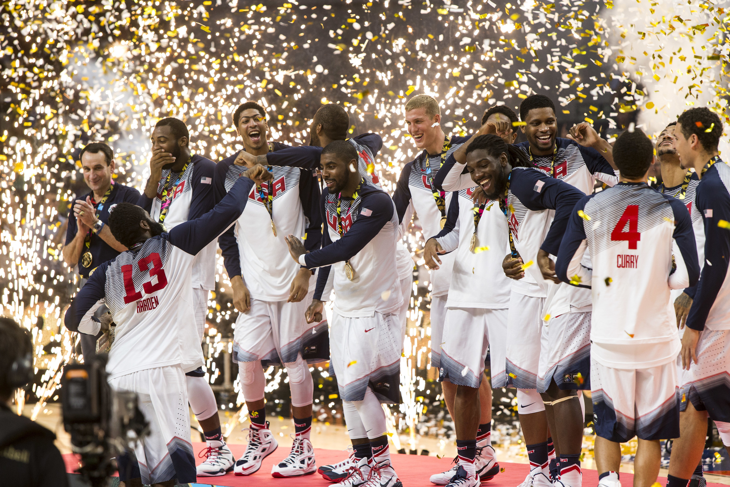 Team USA does the shmoney dance in celebration of the Basketball World Cup gold medal when they defeated Serbia in the championship.