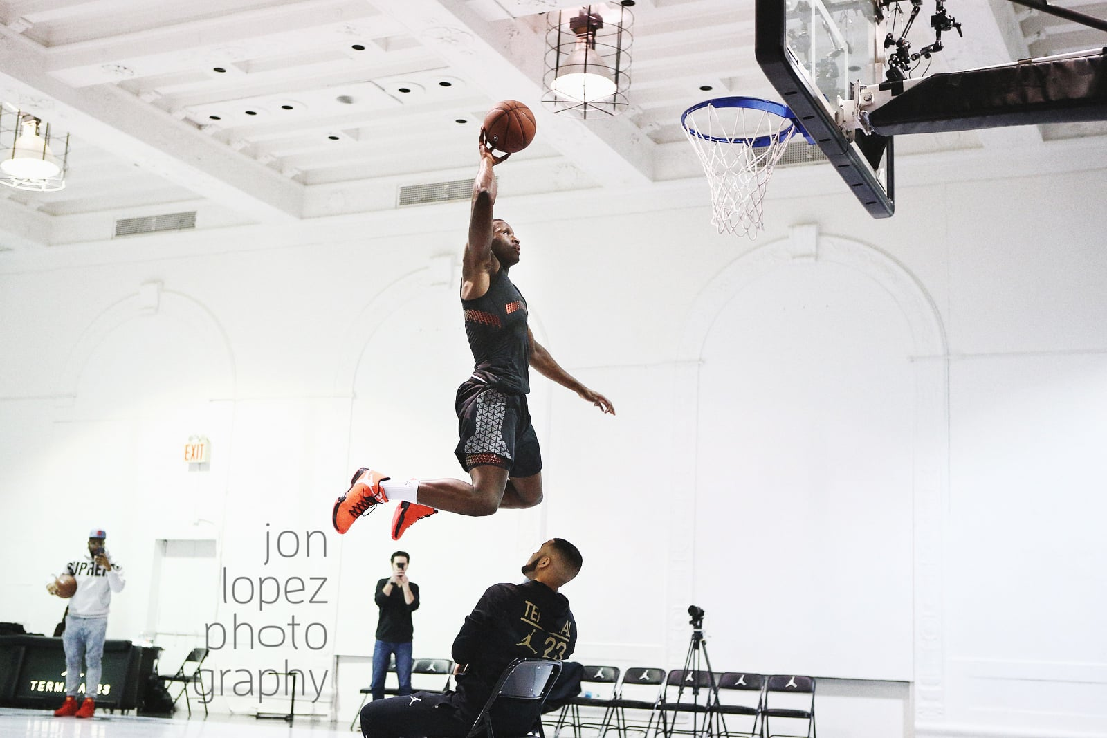 Jordan Brand athlete and Orlando Magic guard Victor Oladipo practiced for the NBA All-Star Weekend dunk contest at Jordan Terminal 23 where I was on hand to create my shots from the sidelines.