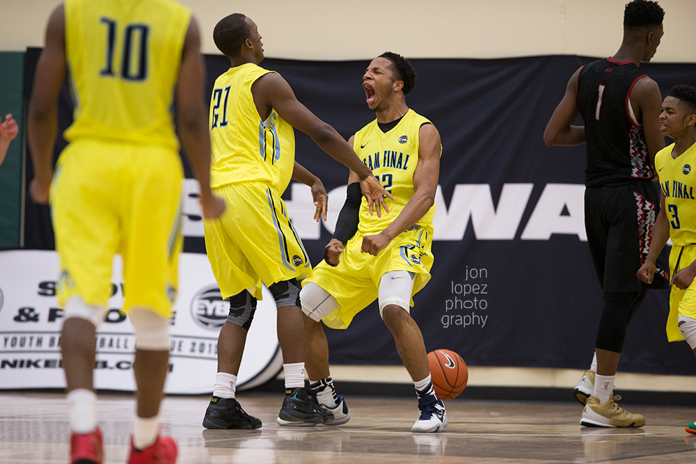 Lamar Stevens celebrates a dunk in a close game against Team CP3 during session 4 of the EYBL in Minneapolis, MN.
