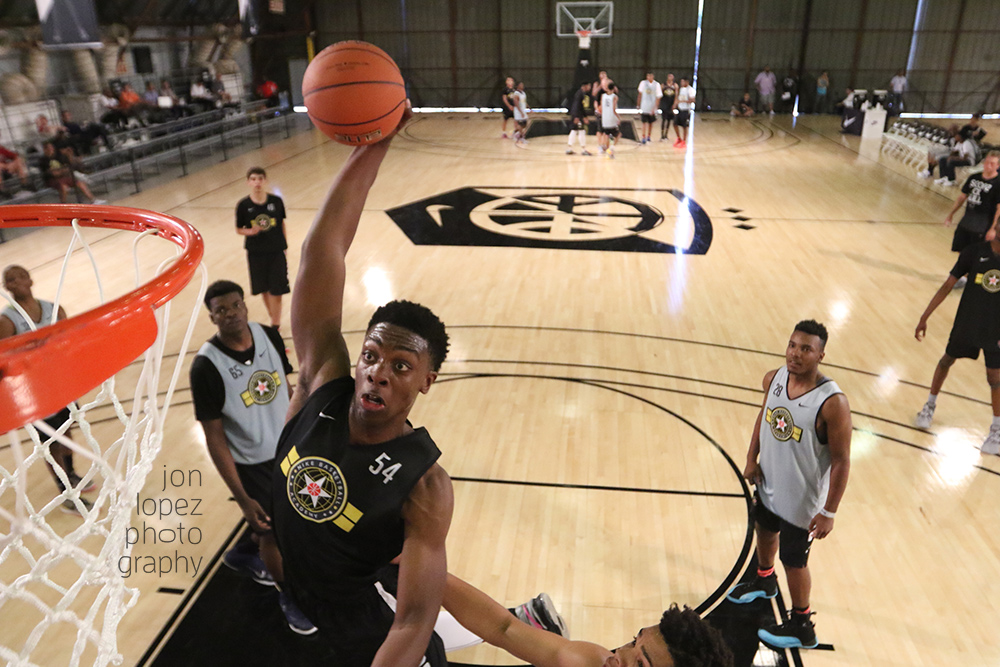 """Tyler Cook dunks at Nike's """"The Academy"""" at Barker Hangar in Los Angeles."""