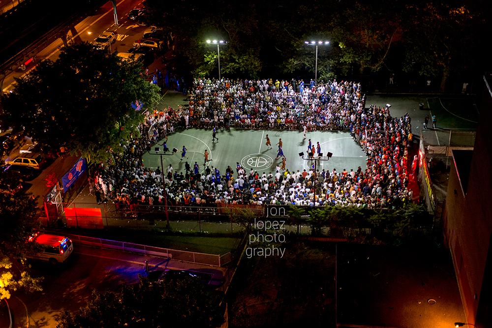 The Dyckman tournament at Monsignor Kett Playground in Washington Heights regularly draws beyond-capacity crowds.