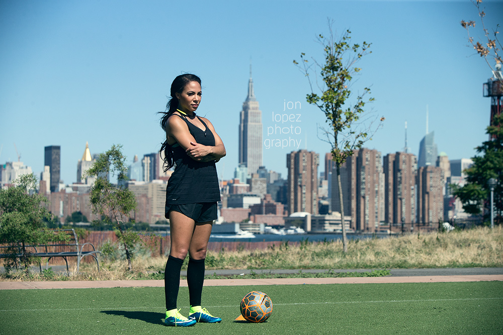 Olympic gold medalist Sydney Leroux Dwyer during a workout in Brooklyn, NY.