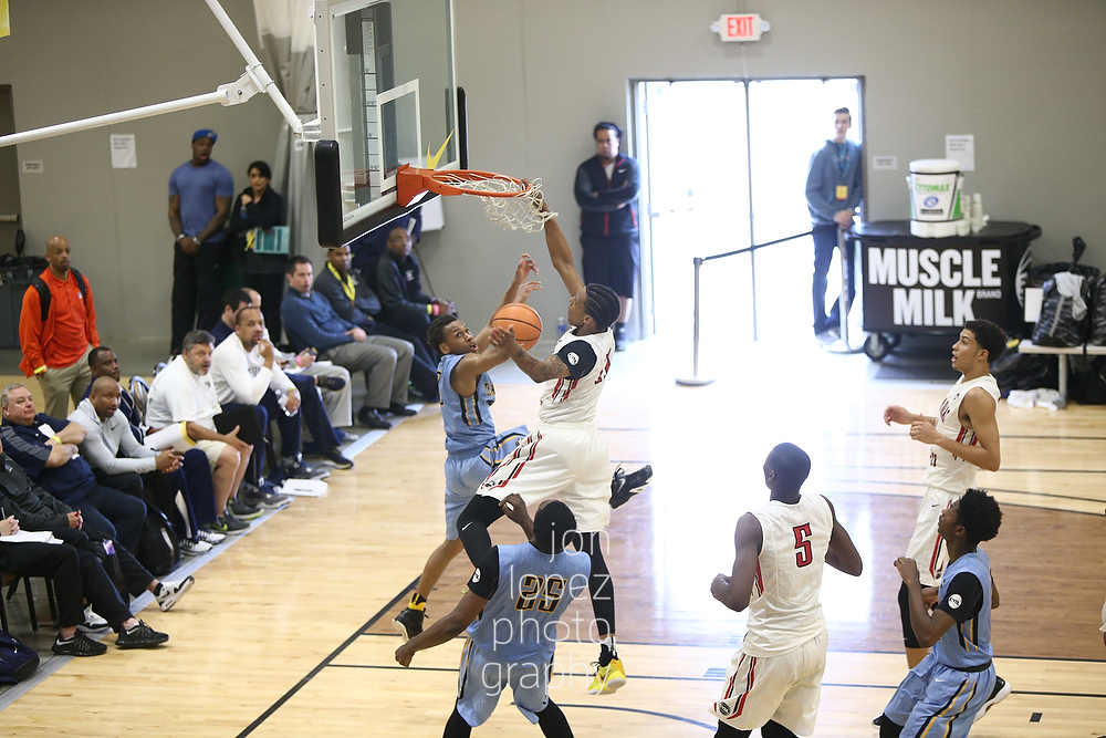 James Beck #11 of Spiece Indy Heat dunks against Team Final (PA). This dunk is featured in the video clip above.
