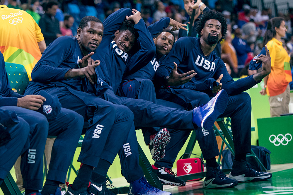 De'Andre Jordan encouraged his teammates (L-R: Kevin Durant, Jimmy Butler, and Kyle Lowry)to look directly into my camera before a couple of their games. 'Preciate you DJ!