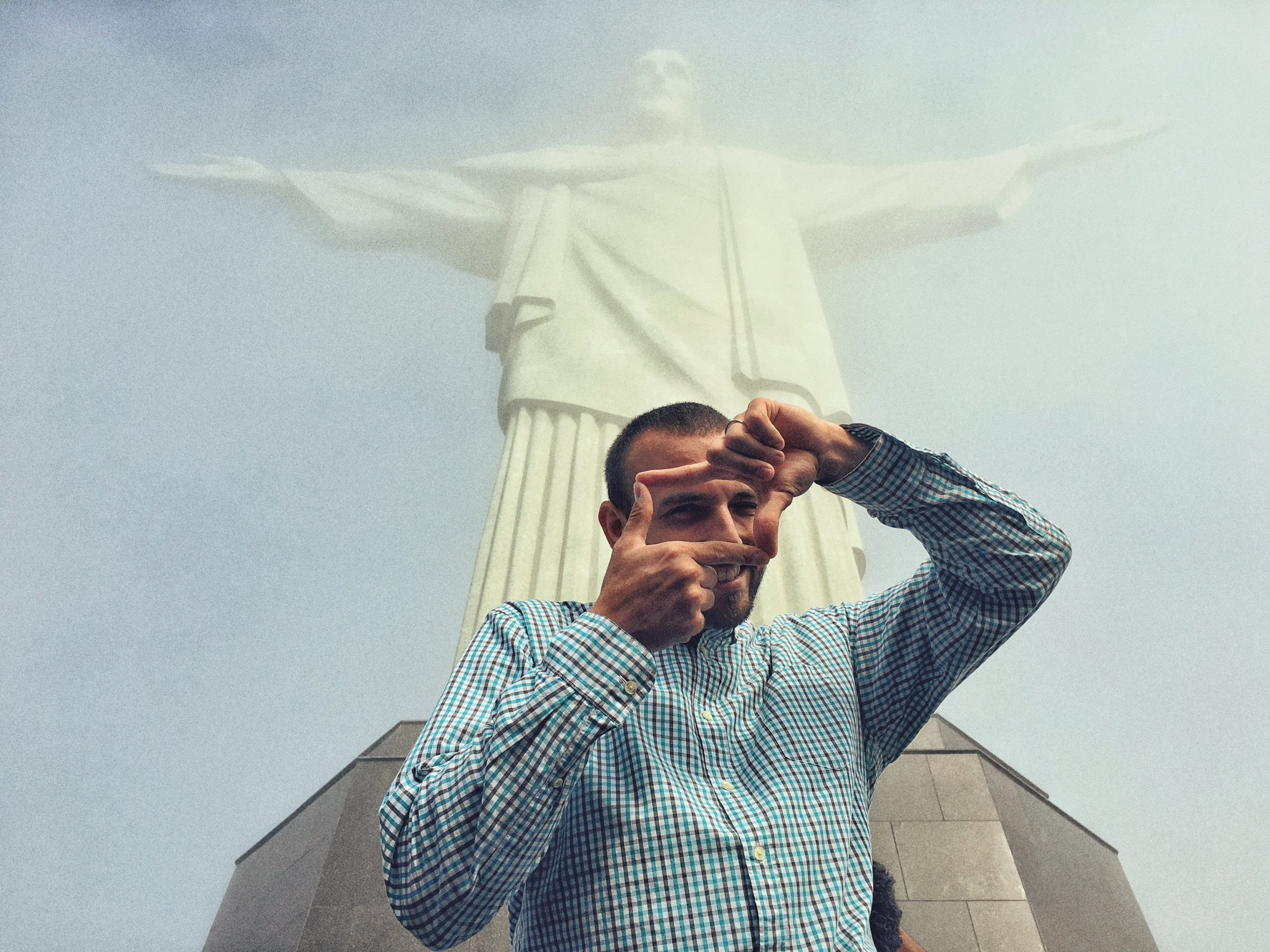 Visiting Christ the Redeemer was a spectacular experience. Photo by Milad Payami on my phone (Thanks bruh!)