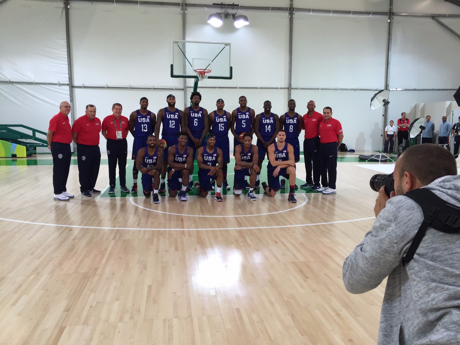 Here I am photographing the home team (for me at least, especially with a New York Knick, Carmelo Anthony, on the roster), Team USA. In between team photo sessions I kept warm by putting up shots on the court :)Photo: William Rosario.