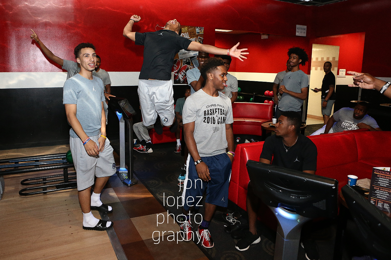 Tremont Waters leaps in jubilation having taken a sizeable lead at the bowling alley, but his opponent had one more round to go...