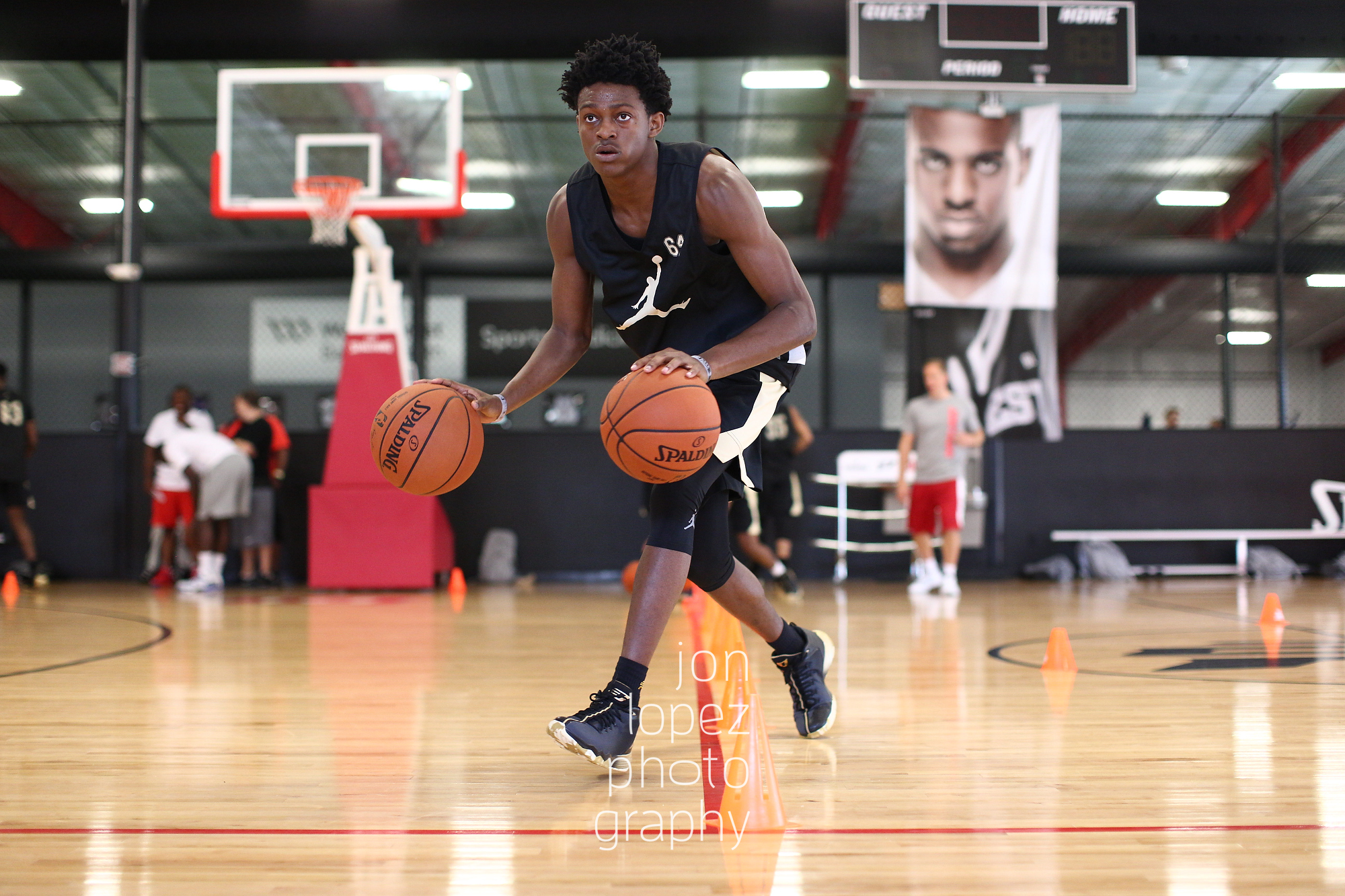 WINSTON-SALEM, NC. JUNE 24, 2016 - CP3 Camp. De�Aaron Fox #64 of Kentucky dribbles. (Photo by Jon Lopez/Nike)