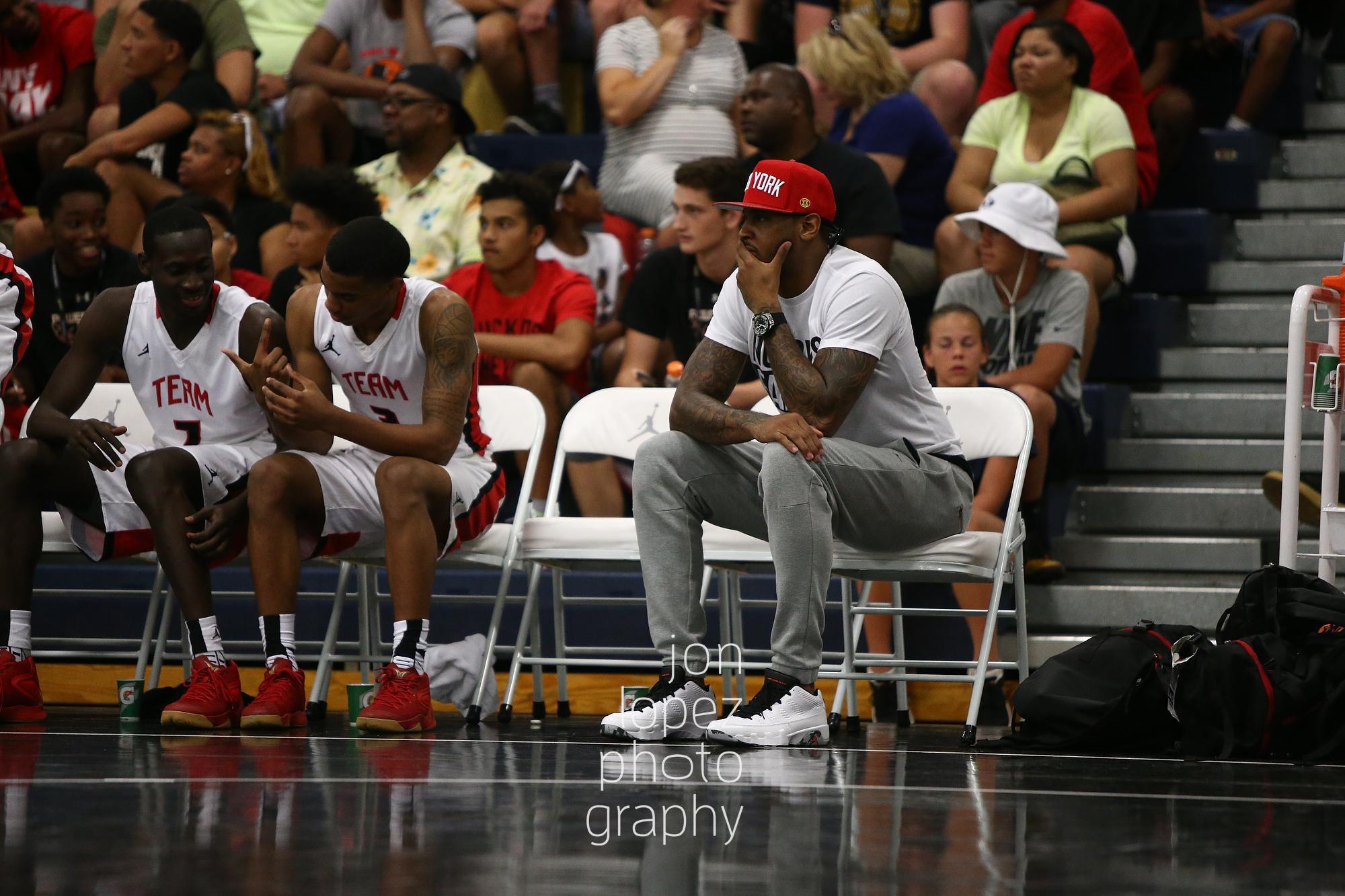LAS VEGAS, NV. JULY 20, 2016. The Eight. Carmelo Anthony sits on Team Melo bench. (Mandatory photo credit: Jon Lopez/Nike).