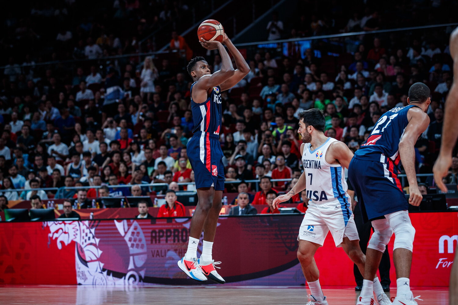 Frank Ntilikina of France and the New York Knicks pulls up for a jumper against Argentina during the semi-finals of the FIBA Basketball World Cup in Beijing, China. All rights reserved (Mandatory photo credit: Jon Lopez / FIBA )