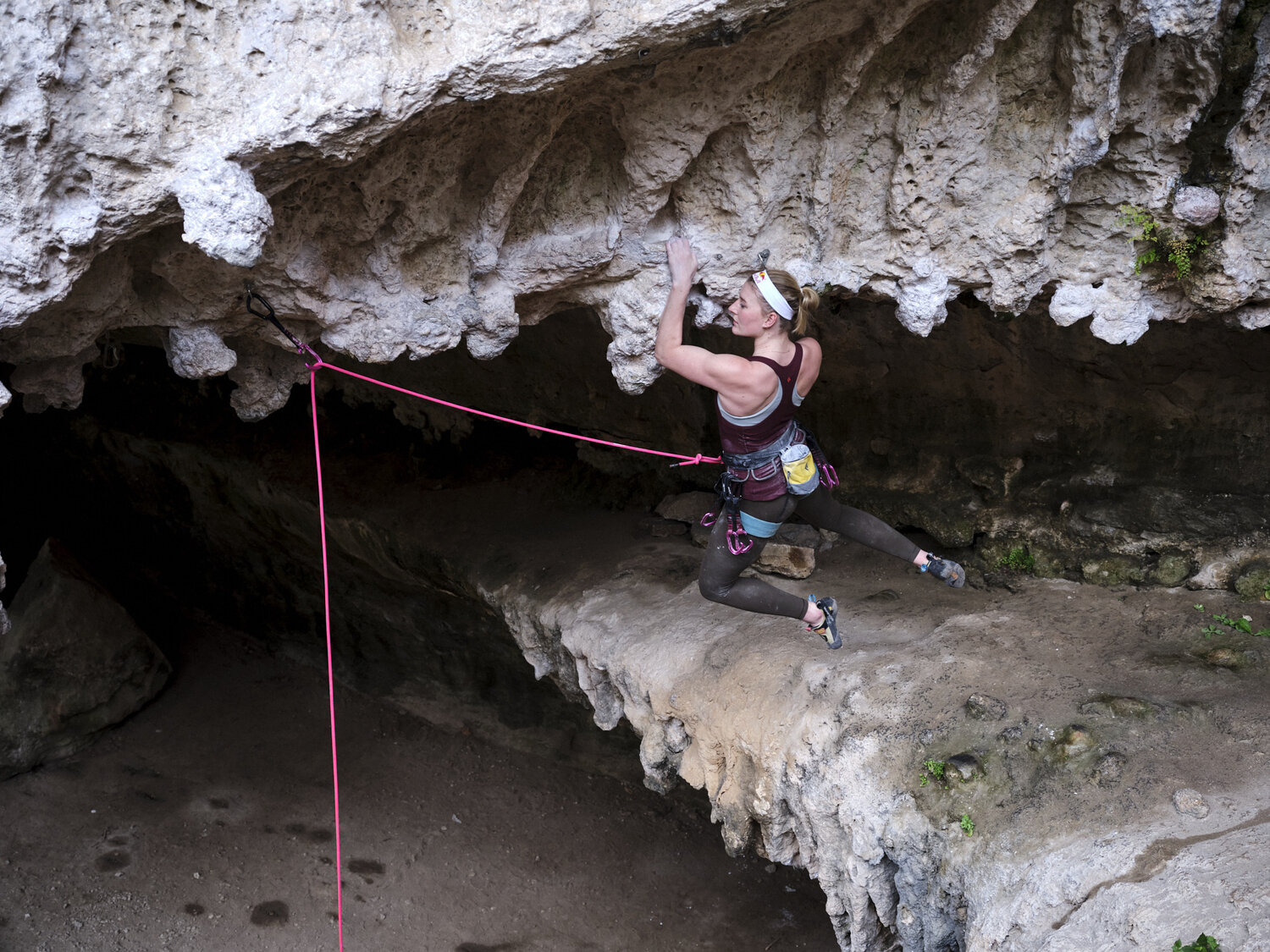 Red Bull athlete Claire Buhrfeind climbs.