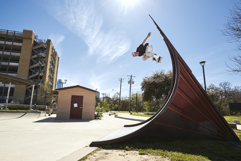 Red Bull athlete Jake Wooten skates at House Park in Austin, TX.