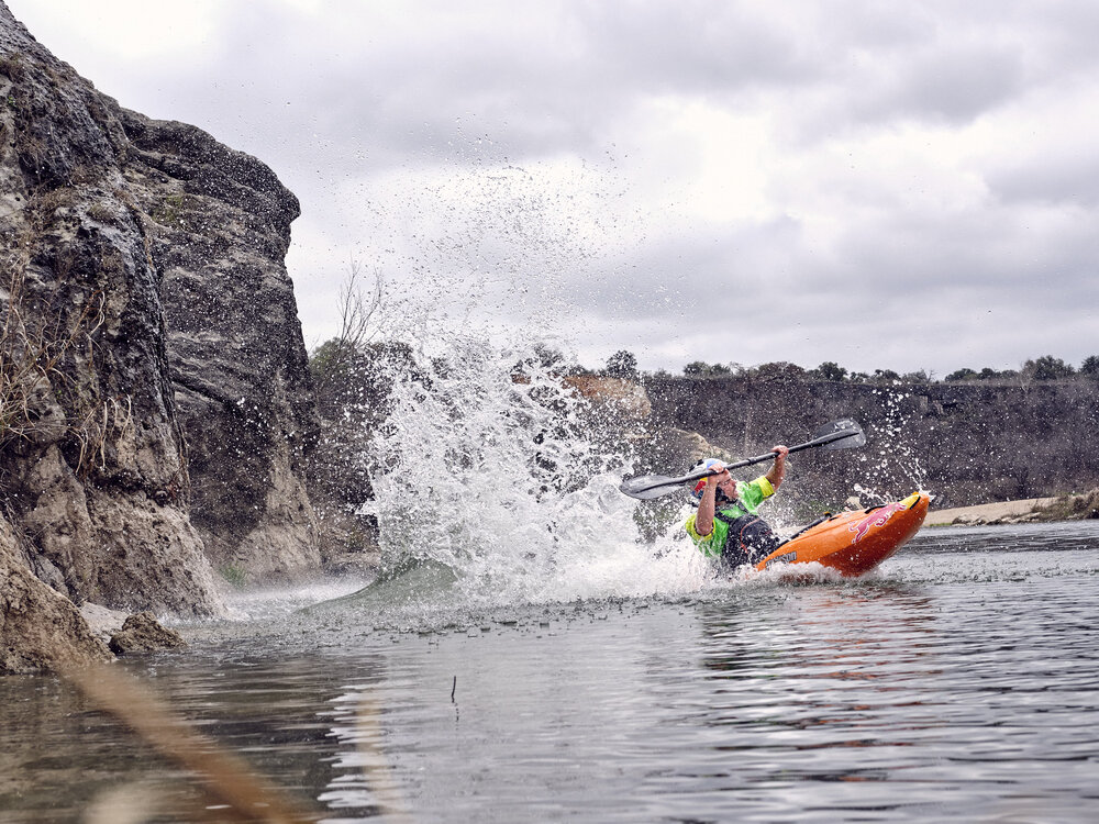 AUSTIN, TX January 25, 2020 - Red Bull Academy kayaking and climbing shoot.NOTE TO USER: Mandatory Copyright Notice: Photo by Jon Lopez