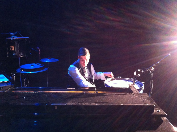 de Groot playing piano and percussion for performances of    Thérèse Raquin - Theatre Works, 2014