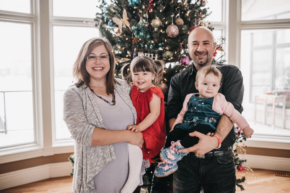 Christine & Peter with daughters Hazel & Zoe at our 2018 Five Elements Birth Services Christmas gathering