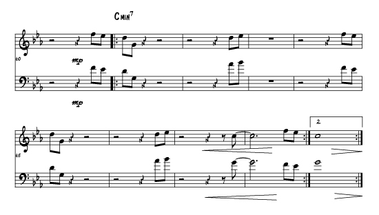 SUGAR - Example of 2 part for trumpet and tenor sax in octaves and harmony.