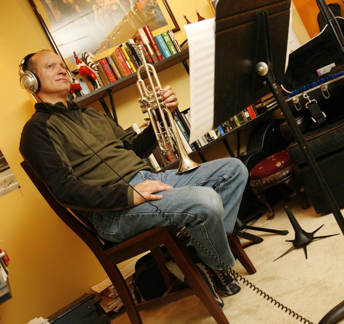 Matt Carr recording trumpet on West 23rd