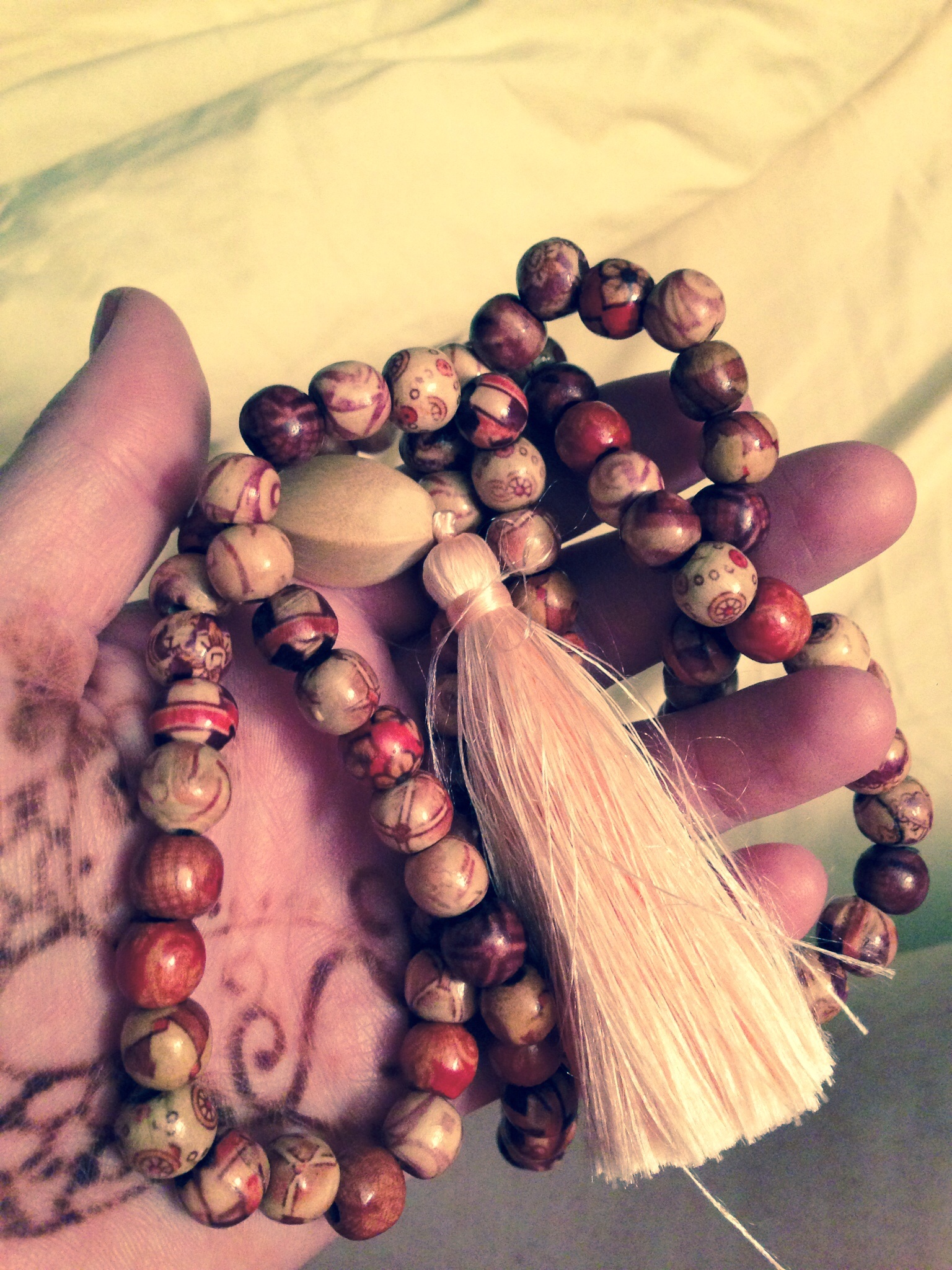 a handmade mala. gifted from Brittany.