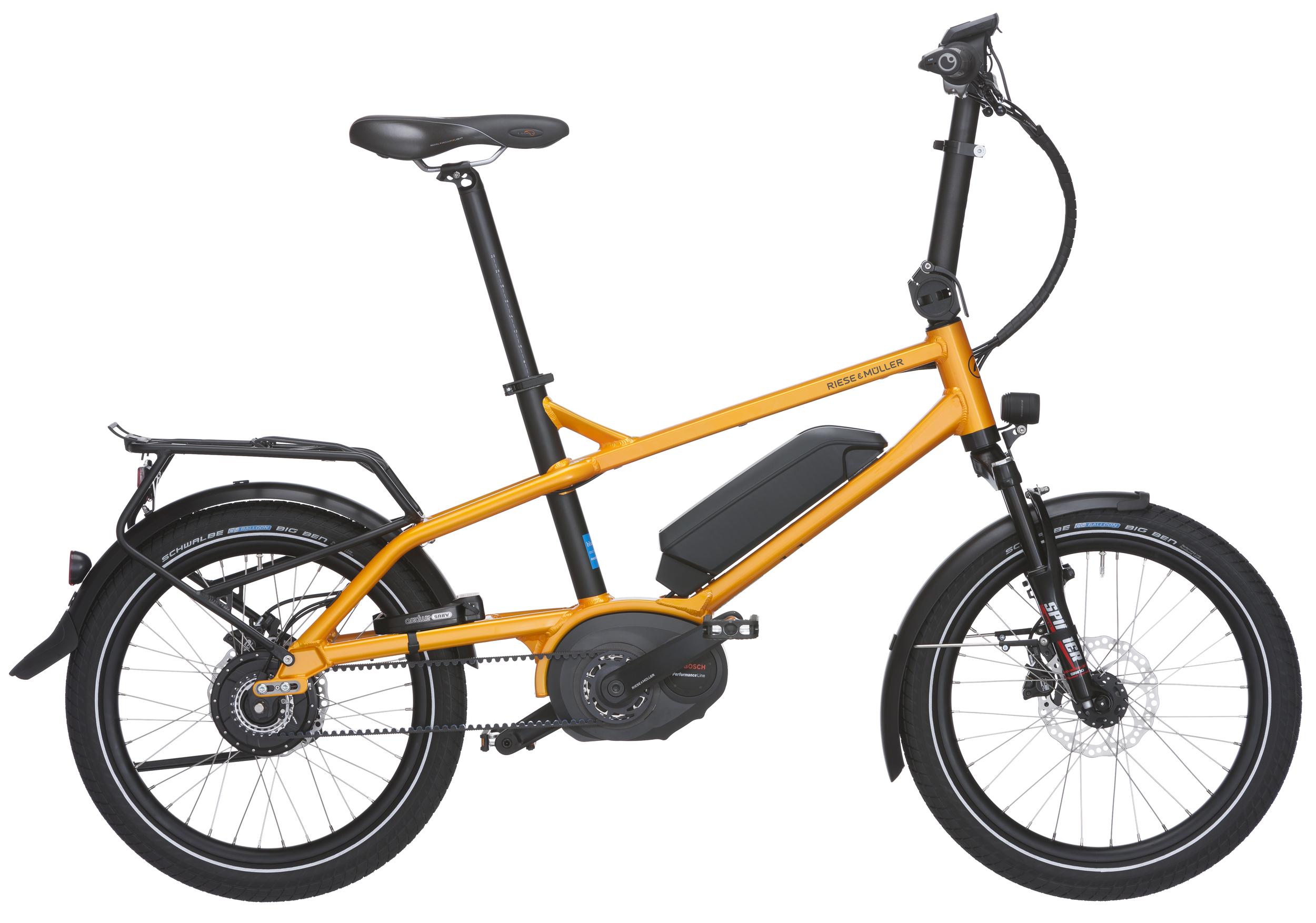 """Riese&Müller Tinker : cyan / schwarz / orange: Kompaktrad mit 20""""-Laufrädern für die unkomplizierte urbane Mobilität. Die 20"""" Version des erfolgreichen und """"red dot"""" design prämierten Modelles Charger. Immer mit Nabenschaltung ENVIOLO wartungsarm, Gates Riemenatrieb und BOSCH PerformanceCX Mittelmotor - dann noch 20Zoll Räder, klappbarer und höhenverstellbarer Lenker, lange Sattelstütze für alle Körpergrößen - ein genialer Wurf des R&M Entwicklerteams aus Darmstadt. Als Pedelec (ab 3899,-€) wie auch als S-Pedelec (HS- Modell) möglich (3999,-€). —-  BEI UNS AB 2999,-"""