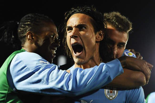 Cavanni Celebrates goal game-winning, but not good enough goal