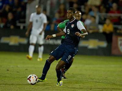 L.A. Galaxy prospect Haji Wright scored a brace against Brazil.