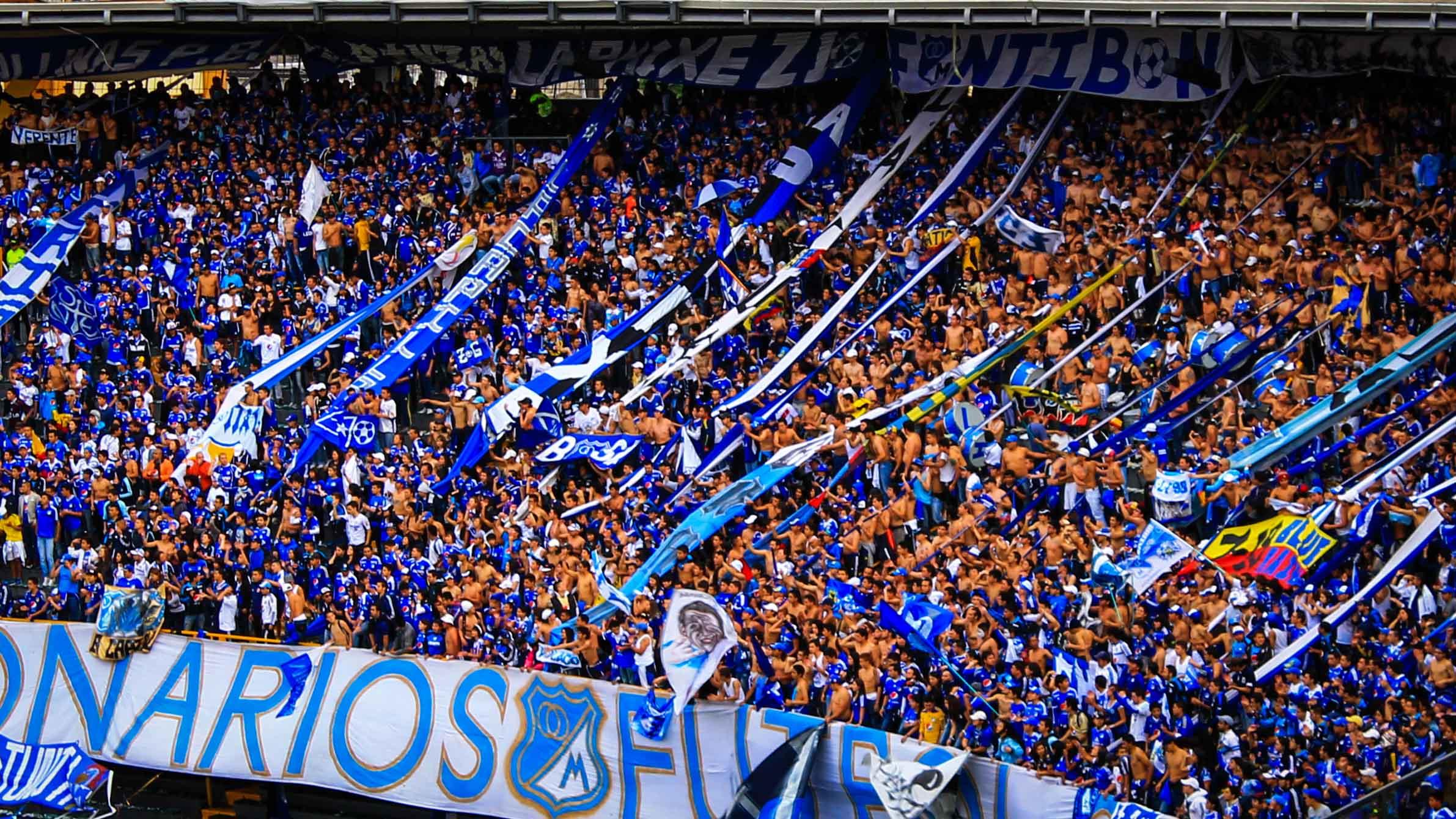 One of Millonarios FC's famed barras bravas, Blue Rain.