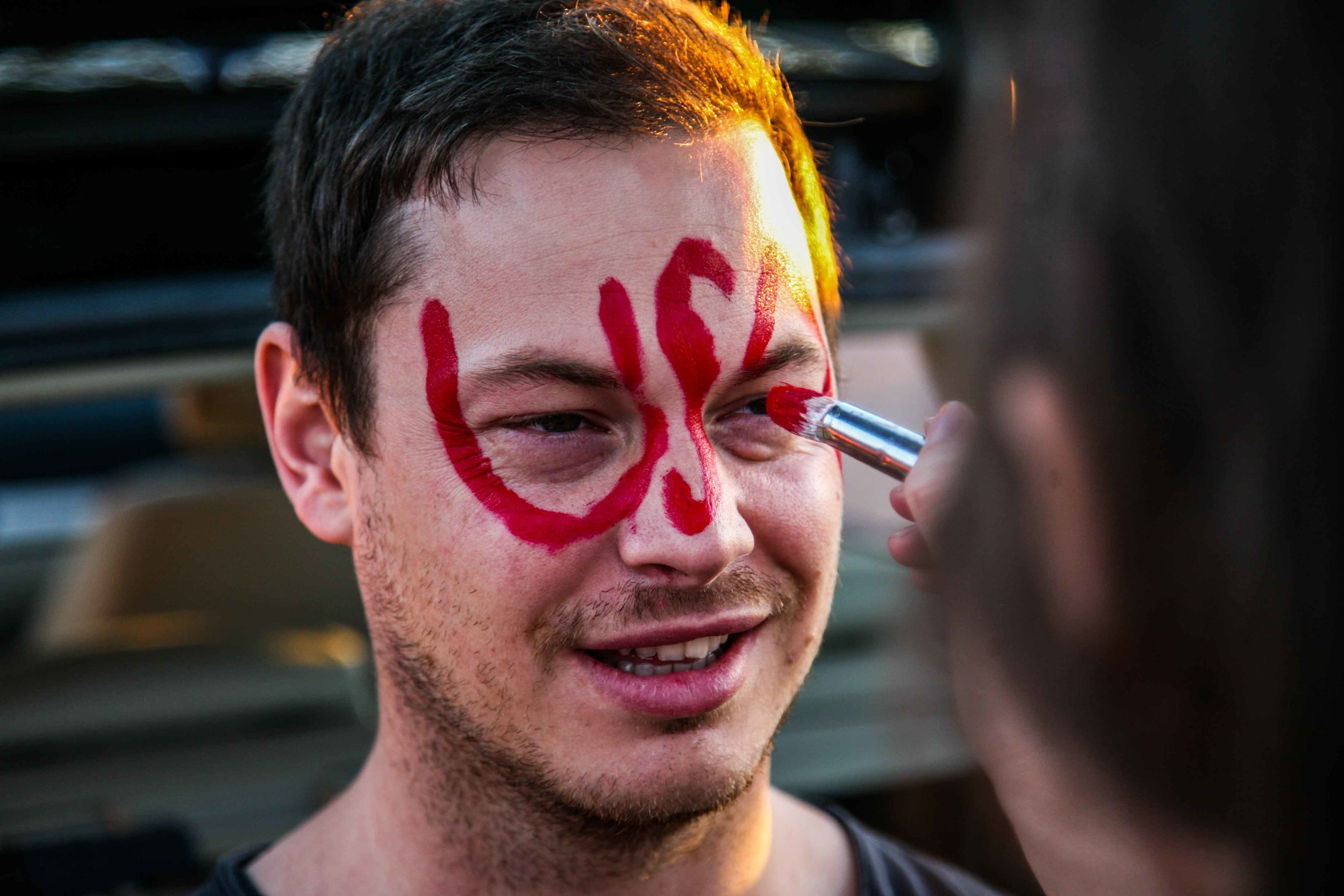 This is Jeff. He's British. So we branded him. On his face.