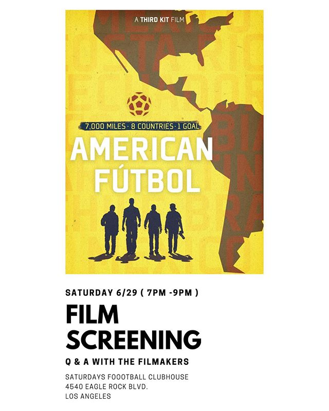If you're in #LosAngeles this weekend, we're doing a free screening + Q&A of our film Saturday night at the @saturdaysfootball shop in Highland Park. 7pm-9pm. Cervezas will be served. 🍺 🎞 ⚽️ * * * Saturdays Football Clubhouse, 4540 Eagle Rock Blvd, 90041