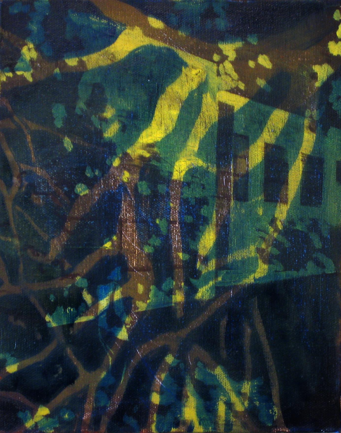 School Trees   10 x 8  Oil On Canvas  2010