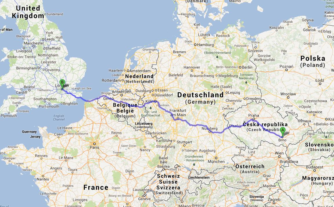 From Brno to London it is about 1500 km (about 932 miles). It's not the end of the world, but when I see the route I realize that it's really far :D //Z Brna do Londýna je to 1500 kilometrů. Není to konec světa, ale když tu trasu vidím uvědomím si, že je to fakt daleko :D