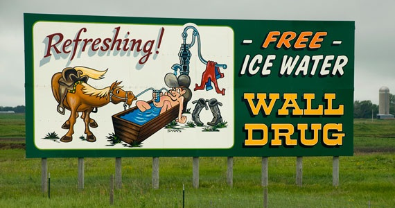 One of the many  Wall Drug signs  along I-90 East in South Dakota.