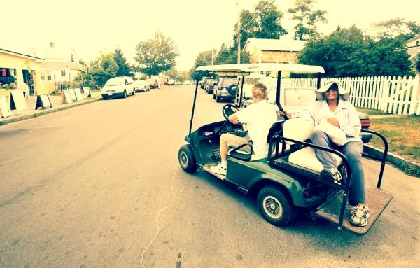 Golf carts are a major form of transportation on Peaks. Credit:  Portland Press Herald