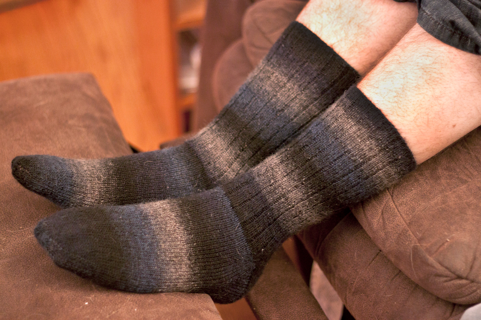 Jeff's socks made out of a self-striping yarn