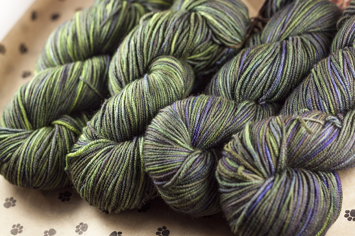 Our 8 ply yarn, Bluetick Coonhound in Pavlov