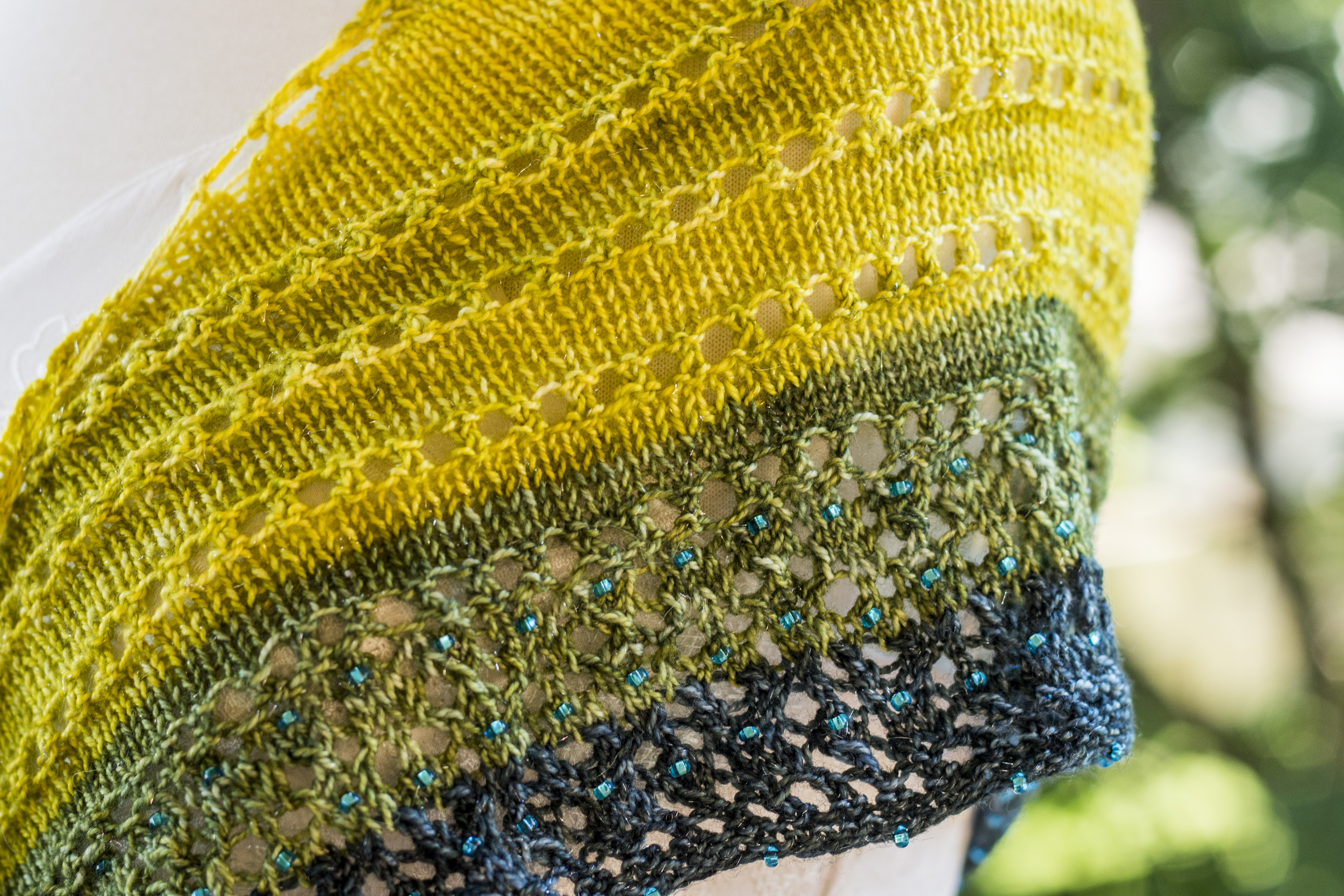 A shawl made with gradient yarn, courtesy of  Valley Ridge Yarns